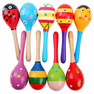 Colorful Wooden Maraca Wood Rattle Musical Instrument Baby Shaker Party Toy New