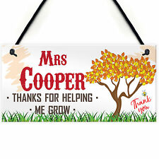 Thank You For Helping Me Grow Personalised Teachers Plaque End Of Year Gift Sign