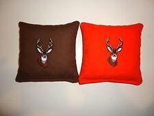 8 Cornhole Bag Set Embroidered Deer Brown and Orange
