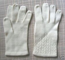 Ivory knit and crochet wrist-length Gloves size 7   Free SHIPPING