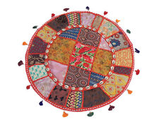 Beautiful Round Accent Cushion Vintage Patchwork Interior Decor Big Pillow 24in