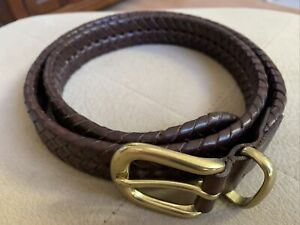 COACH Belt 5922 Brown Serpentine Double Braided Leather Brass Buckle Men 36 $175