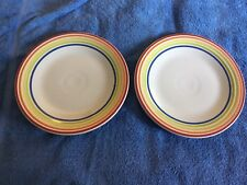 NEW Fiesta Rainbow Stripe Border Luncheon Plates (2), Fiestaware, 1st QualIty
