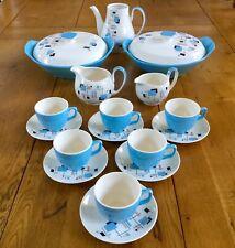1950s Coffee Cups, Tureens, Jugs, Palissy Gaydays Blue Atomic Design