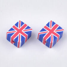 50 FIMO POLYMER CLAY UNION FLAG JACK SQUARE BEADS - 10MM