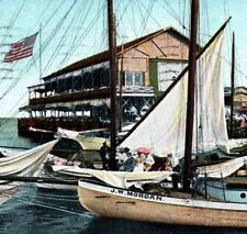 Pavilion & Jachting Pier sailboat J.W. Morgan Atlantic City NJ Vintage Postcard