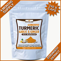 240 TURMERIC GARLIC GINGER BIOPERINE CURCUMIN BLACK PEPPER TUMERIC CAPSULES PILL