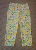 Lilly Pulitzer yellow pink green lemons print capri pants size 8
