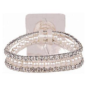 Corsage Wrist Band Sarina Narrow Diamonte and Pearls Cream