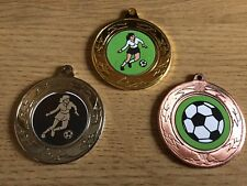 3 x LADIES FOOTBALL MEDALS (40mm) GOLD,S & B - FREE ENGRAVING,CENTRES & RIBBONS
