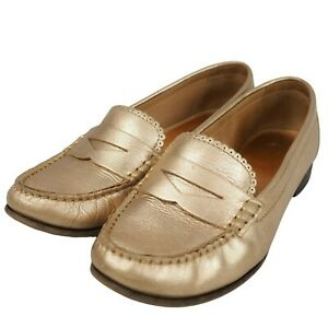Jack Rogers Womens Gold Platinum QUINN Slip-On Loafers Shoes 1915FF0001 Sz 8M