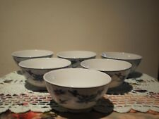 TAIWANESE BLUE & WHITE WITH LOTUS FLOWER MOTIFF  PORCELAIN RICE BOWLS - SET OF 6