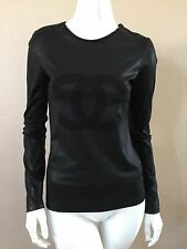 CHANEL 12P METALLIC BLACK IDENTIFICATION CC LOGO TOP T-SHIRT FOR JACKET 36, NEW
