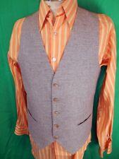 Vintage 60s 70s Brown Tweed Wool Blend Button Up Waistcoat Vest Mod Steampunk S