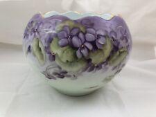 Vintage M. S. T. 13 Bavaria Vase Hand Painted Purple Green Pansies Flowers