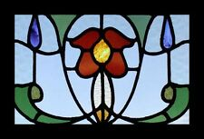 Antique Victorian English Rose Stained Glass Window