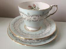Pretty Vintage Paragon Radstock Tea Trio  Duck Egg Blue with Rosebuds