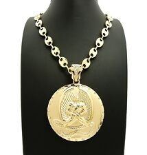 "NEW EUPHANASIA PENDANT & 10mm/30"" MARINA LINK CHAIN HIP HOP NECKLACE - RC2570G"