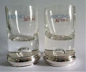 New Pair of 'Big Bubble Little Bubble' Sterling Silver base Krosno Shot Glasses