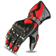 Red Motorbike Gloves Motorcycle Racing Touring Biker Cowhide Leather 1655 M-1
