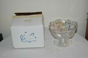 Vintage White Carnival Smith glass Aztec Pattern Sawtooth edge footed bowl  New