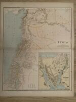 1883 SYRIA & PALESTINE LARGE ORIGINAL ANTIQUE MAP BY GEORGE PHILIP 69 cm x 54 cm