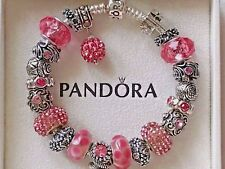 Authentic PANDORA S925 Silver Bracelet with Pink Murano Glass+Crystal Beads 7.9""
