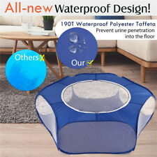 Foldable Pet Exercise Kennel Soft Fabric Dog Run Puppy Cat Playpen Cage Blue