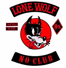 No Club Lone Wolf back patch 6pc set badge rocker style hot rod vest motorcycle