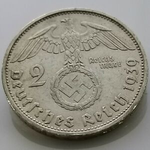 German 2 Reichsmark (1939 F) 0.625 silver coin Third Reich WW2