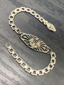 "Masonic vintage White Gold Filled Eastern Star Cloisonné enamel Bracelet 6.5"" Sm"