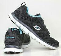 SKECHERS Flex Appeal 2.0 Sneaker Black / Light Blue Women's Size 6 - 12074