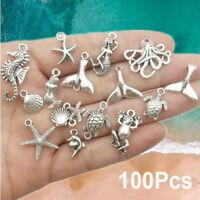100Pcs Bulk Mixed Tibetan Silver Charm Ocean Pendants Beads DIY Jewelry Findings
