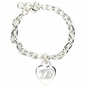 Baltimore Ravens NFL Womens WinCraft Silver-Tone Heart-Charm Bracelet Jewelry