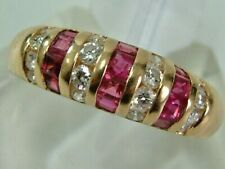 DESIGNER STYLE 18CT YELLOW GOLD DOMED RUBIES DIAMONDS BAND STYLE RING