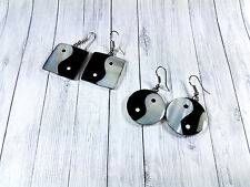 Yin Yang symbol round square mother of pearl shell earrings with steel hooks
