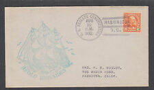 US Mel 723-GP3 Second Day Cover 1932 6c Garfield coil, USS Frigate Constitution