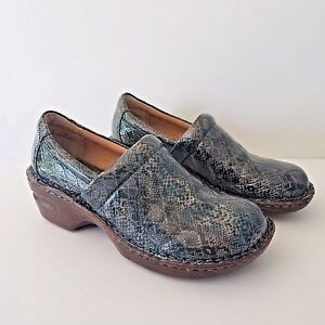 BOC Born Concept Shoes US 8 Gray Faux Snake Skin Clogs Slip On Nurse Vegan