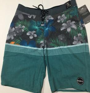 NWT O'Neill Informant Men's size 28 Swim/Board shorts Mid-Length Gray/Green/Teal