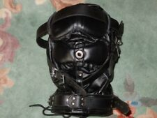 NEW Black Leather Costume Sensory Deprivation Mask Hood - Reenactment Gear WOW