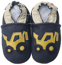 carozoo forklift navy blue 2-3y soft sole leather toddler shoes