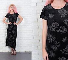 Vintage 90s Black Velvet Dress Floral Leaf Print Crushed Maxi Small S