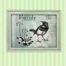Home Decor Wall Painting Picture Canvas Wooden Frame Art Vintage Bird Family