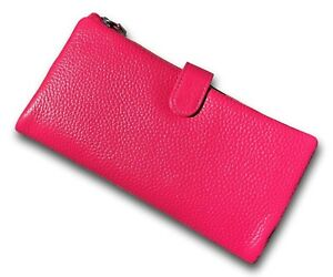 Ladies MAGENTA Leather 19cm Wallet