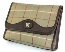 Auth Burberrys Vintage Nova Check Canvas & Brown Leather Small Clutch Bag Purse