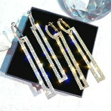 Very Sparkling Diamante Rhinestone Silver Gold Blue Long Drop Bling Earrings UK*