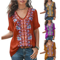 T Shirt Beach Floral Summer Loose Tops Blouse V Neck Women Tee Short Sleeve Boho