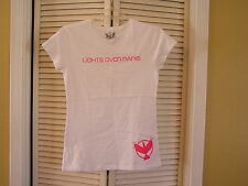 NEW Womens LOP Lights Over Paris American Apparel Pink White T Tee Shirt Top XL