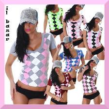 t-shirt donna maglietta manica corta rombi in 7 colori taglie s/m ; m/l