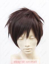 Attack on Titan Eren Jaeger Short Dark Brown Cosplay costume Wig + free wig cap